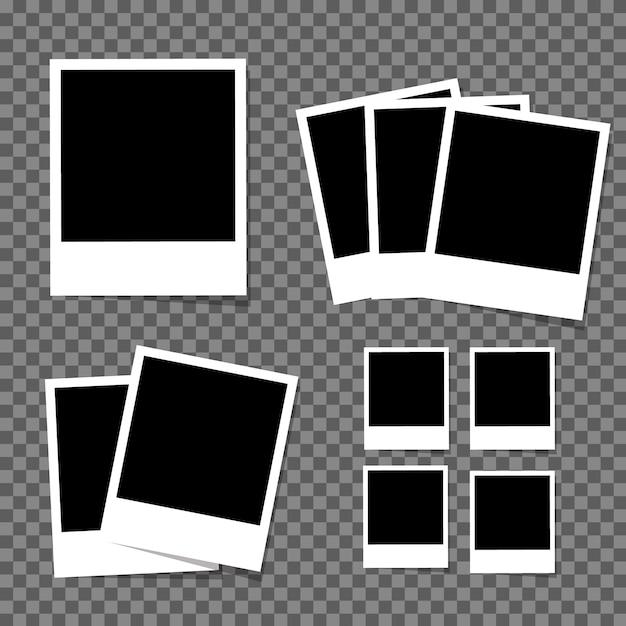 Conjunto de molduras para fotos em branco vintage Vetor Premium