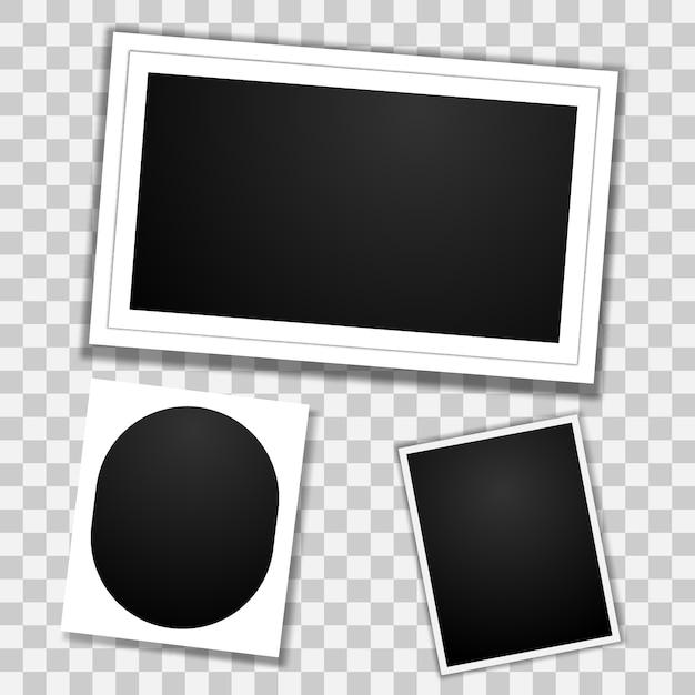 Conjunto de molduras para fotos em branco Vetor Premium