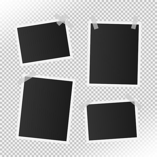 Conjunto de molduras para fotos vintage realista Vetor Premium