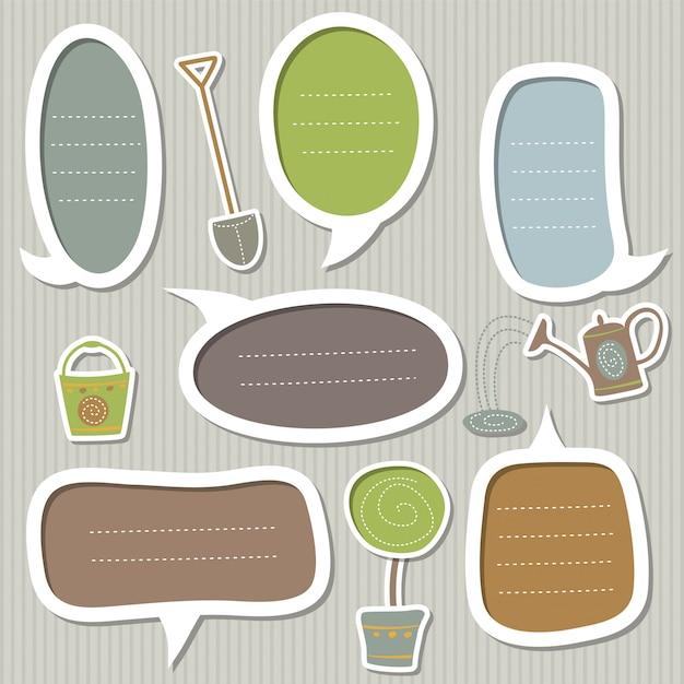 Conjunto de molduras para texto decorado pelo tema do jardim: pá, regador, balde e árvore em uma panela Vetor Premium