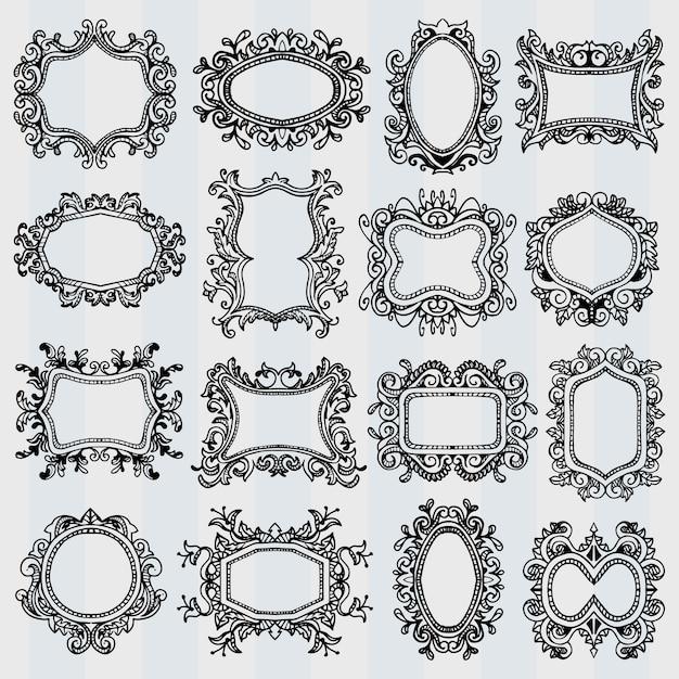 Conjunto de molduras vintage. bordas decorativas retrô Vetor Premium