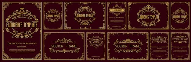 Conjunto de molduras vintage decorativas e fronteiras Vetor Premium