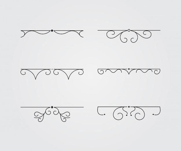 Conjunto de molduras vintage. ilustração vetorial. Vetor Premium