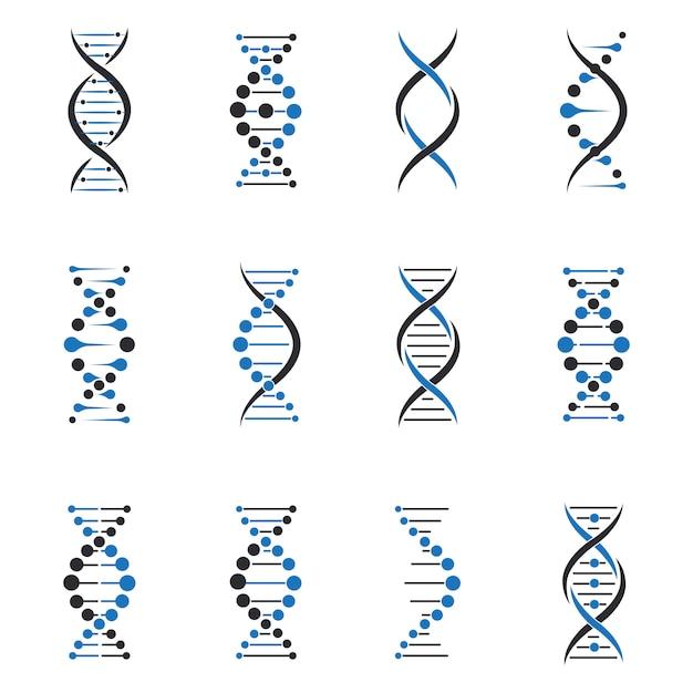 Conjunto de moléculas de dna Vetor grátis