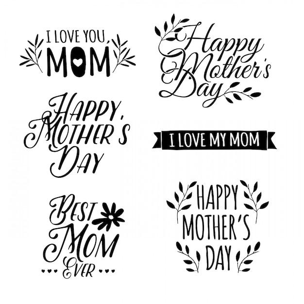 Conjunto de monocromático de letras retrô simples do dia das mães Vetor Premium