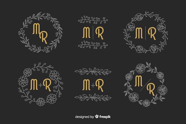 Conjunto de monograma de casamento ornamentais Vetor grátis