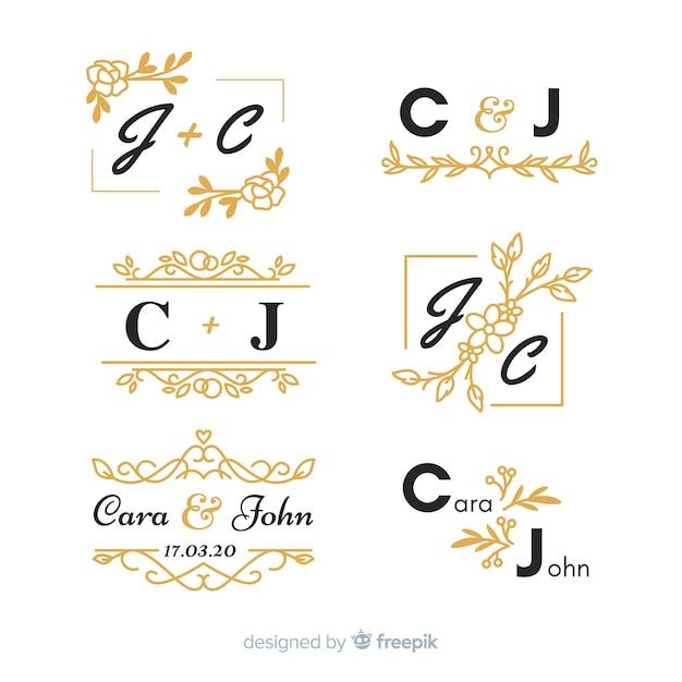 Conjunto de monograma lindo casamento ornamental Vetor grátis