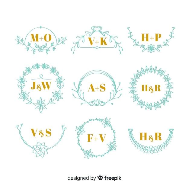 Conjunto de monogramas de casamento elegante Vetor grátis