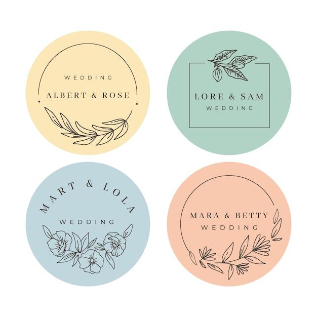 Conjunto de monogramas de casamento minimalista em tons pastel Vetor grátis
