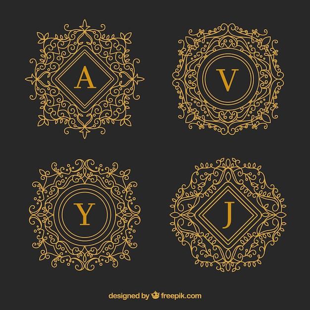 Conjunto de monogramas decorativos dourados baixar for Conjunto de espejos decorativos