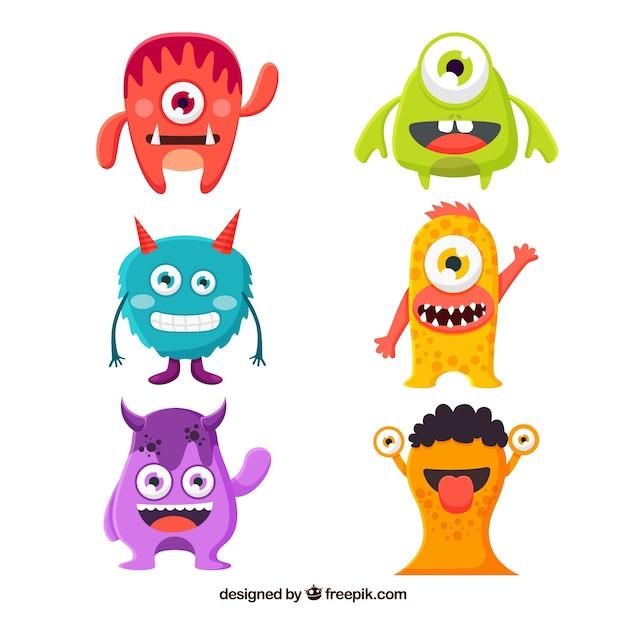 Conjunto de monstros engraçados em estilo plano Vetor grátis