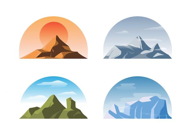 Conjunto de montanhas diferentes isoladas Vetor Premium