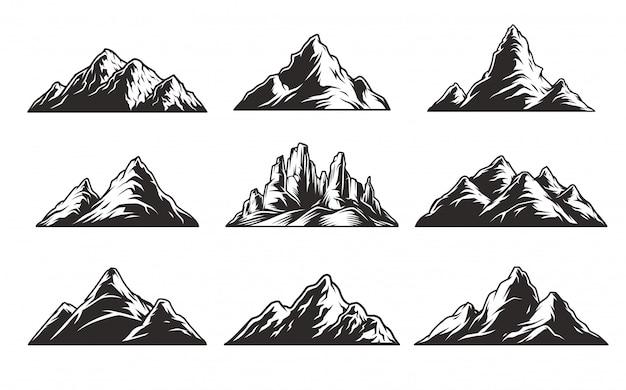 Conjunto de montanhas monocromáticas vintage Vetor grátis