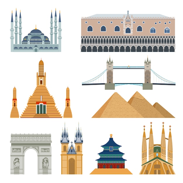 Conjunto de monumentos e monumentos Vetor grátis