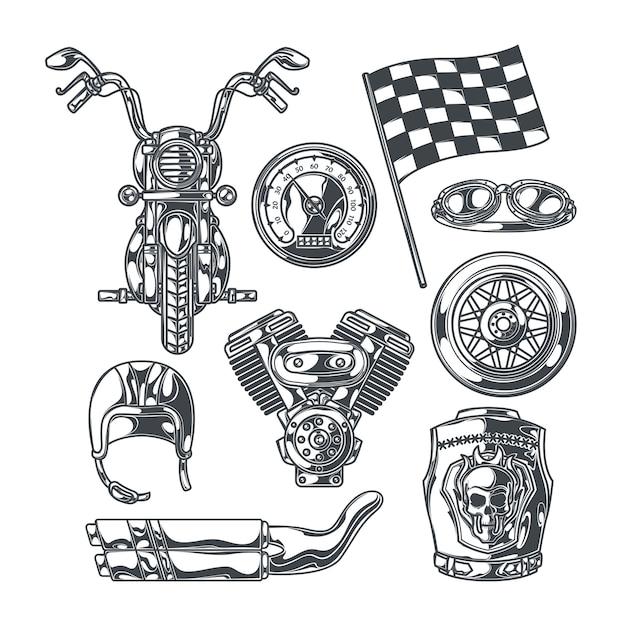 Conjunto de motoclube com imagens monocromáticas isoladas de peças de motocicleta, rodas, acessórios de motociclistas e bandeira de corrida de acabamento Vetor grátis