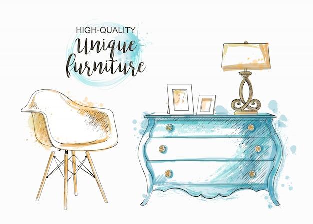 Conjunto de móveis de mão desenhada e detalhe interior Vetor Premium