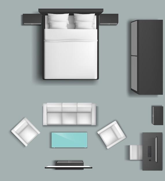 Conjunto de móveis de sala de estar e quarto para casa Vetor grátis