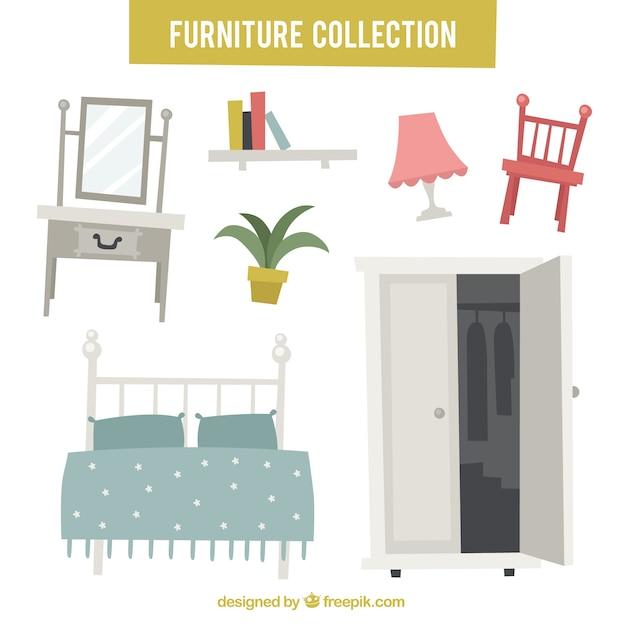 Conjunto de móveis e objetos de decoração Vetor grátis