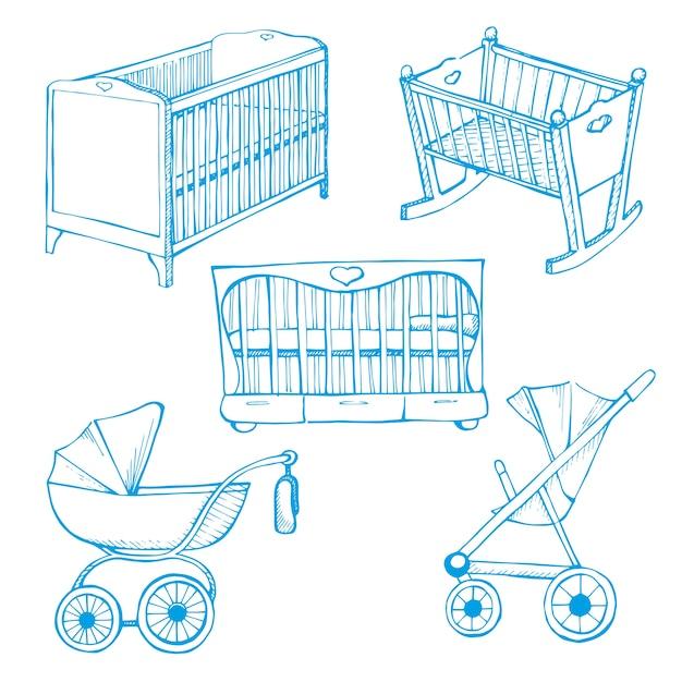 Conjunto de móveis infantis. desenhe diferente para berços e carrinhos de bebê Vetor Premium