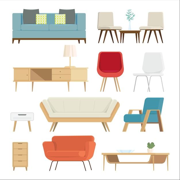 Conjunto de móveis interior e acessórios para casa. Vetor Premium