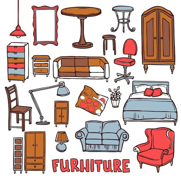Conjunto de móveis para casa Vetor grátis