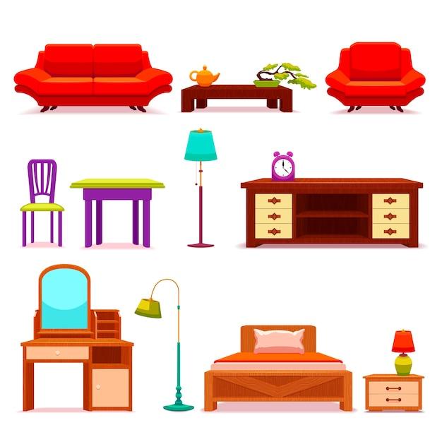 Conjunto de móveis para hotéis Vetor grátis