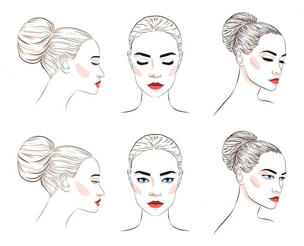Conjunto de mulher bonita com coque penteado e maquiagem elegante Vetor Premium