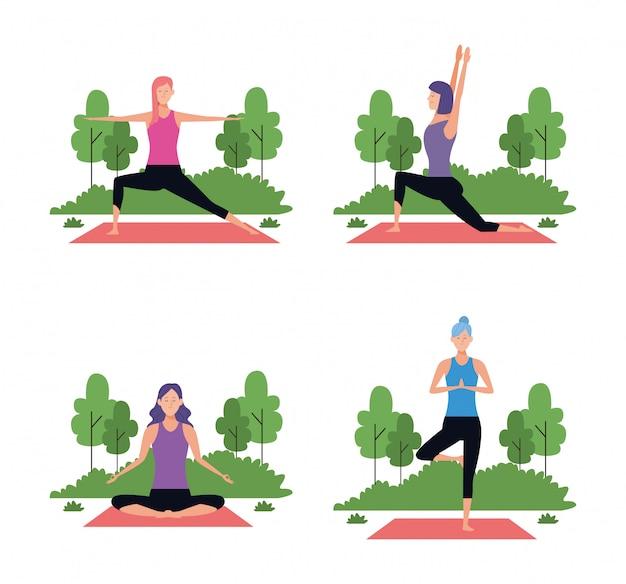 Conjunto de mulher em poses de ioga Vetor Premium