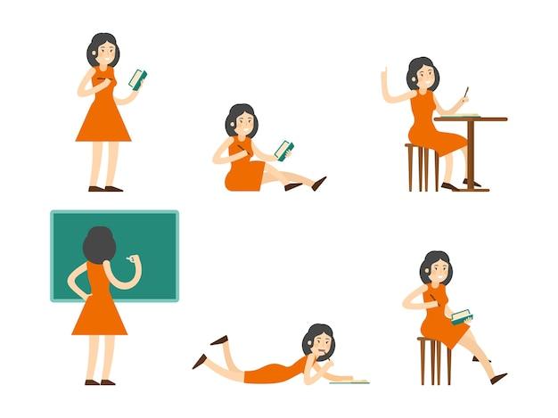 Conjunto de mulher estudando plana Vetor grátis