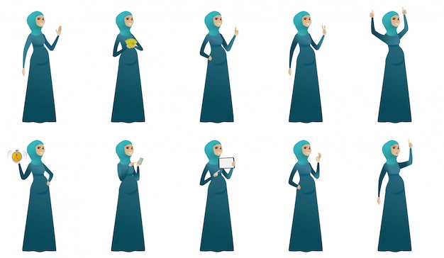 Conjunto de mulher grávida muçulmana Vetor Premium