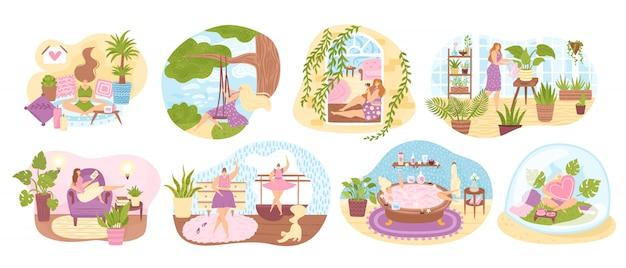 Conjunto de mulheres aproveitando seu tempo livre, realizando atividades de lazer e fazendo ilustração de hobbies. mulher gostando de dançar, cultivar o jardim doméstico, meditar, tomar banho, ler um livro. Vetor Premium