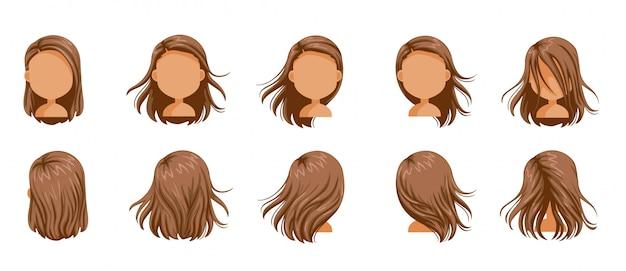 Conjunto de mulheres de cabelo soprado. cabelo de menina pequeno conjunto de fundido. cabelos longos soprados de mulheres. Vetor Premium