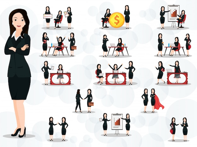 Conjunto de mulheres de negócios em diferentes poses de trabalho e gestos na Vetor Premium
