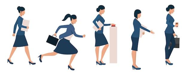 Conjunto de mulheres empresárias ocupadas com diferentes atividades Vetor grátis