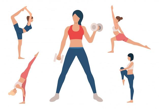 Conjunto de mulheres que treinam o corpo. meninas fazendo yoga Vetor grátis