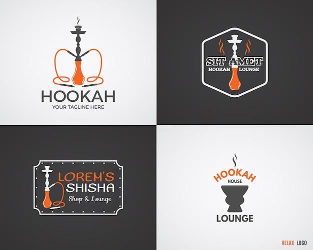 Conjunto de narguilé relaxar logotipos em 2 variações de cor. logotipo de shisha vintage. emblema de café do salão. bar árabe ou casa, insígnias de loja. paleta da moda. Vetor Premium