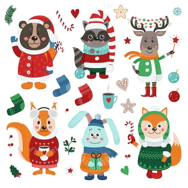 Conjunto de natal com animais fofos da floresta Vetor Premium