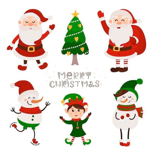 Conjunto de natal com isolado bonito papai noel, snowmans e gnomo Vetor Premium