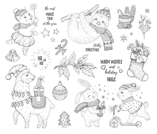 Conjunto de natal de desenho cartoon animais. Vetor Premium