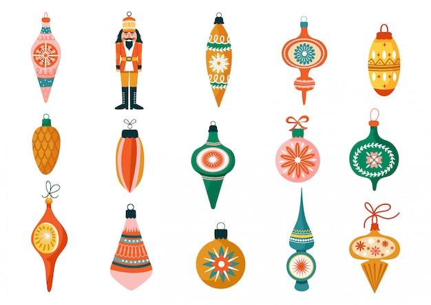 Conjunto de natal de várias decorações para árvores. Vetor Premium