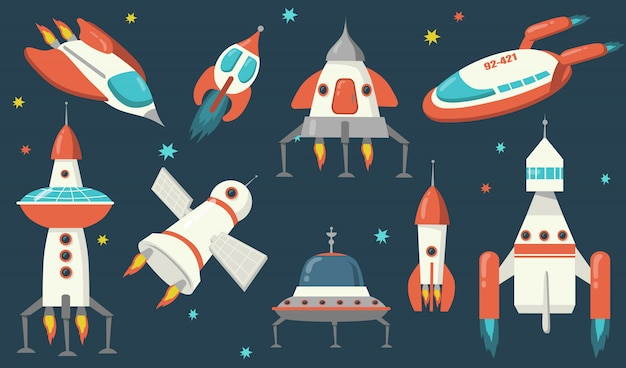 Conjunto de naves espaciais e foguetes Vetor grátis