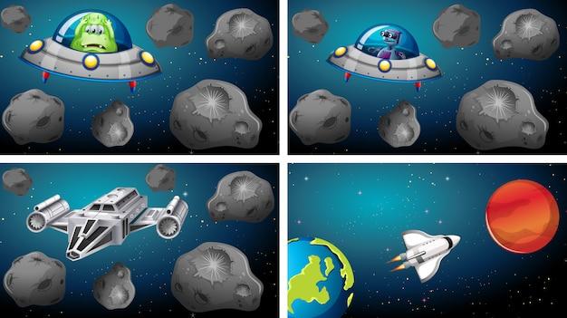 Conjunto de naves espaciais em cena Vetor grátis