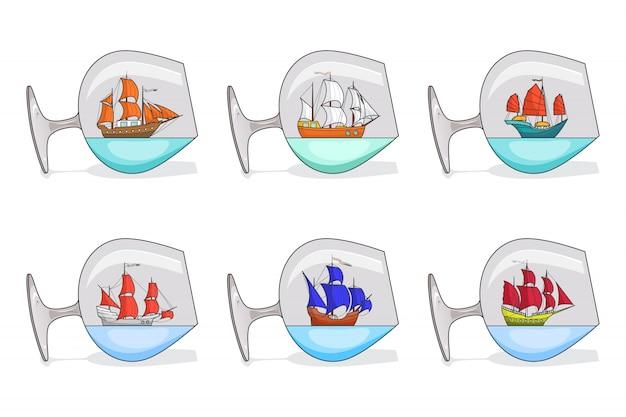 Conjunto de navios de cor com velas em copos. lembranças com o veleiro isolado no fundo branco. decoração de viagem. arte de linha plana. ilustração vetorial para viagem, turismo, agência de viagens, hotéis. Vetor Premium