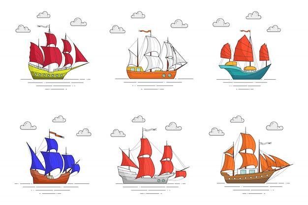 Conjunto de navios de cor com velas no mar. banner de viagem com veleiro em ondas. skyline abstrata. arte de linha plana. ilustração vetorial. conceito de viagem, turismo, agência de viagens, hotéis, cartão de férias Vetor Premium