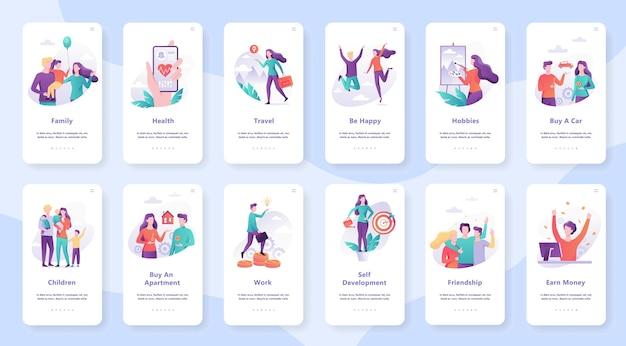 Conjunto de necessidades humanas. desenvolvimento pessoal e autoestima, educação e trabalho, cuidado com a saúde. ilustração em estilo cartoon Vetor Premium