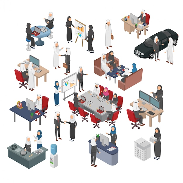 Conjunto de negócios árabes pessoas isométrica ilustração Vetor Premium