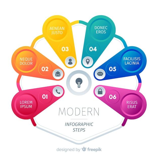 Conjunto de negócios coloridos de modelo de etapas de infográfico Vetor grátis