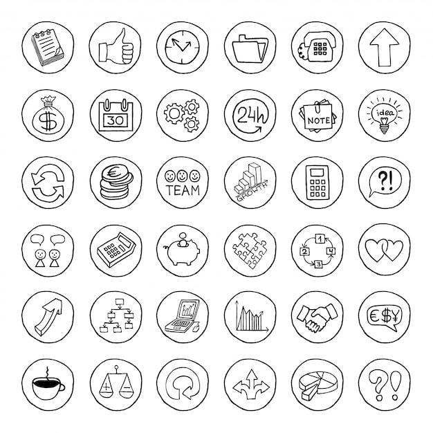 Conjunto de negócios de mão desenhada de botões. Vetor Premium