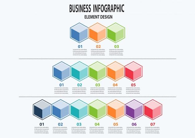 Conjunto de negócios infográfico pode ser usado para layout de fluxo de trabalho, diagrama, peças, etapas Vetor Premium