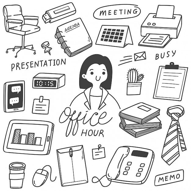 Conjunto de negócios mão desenhada doodles Vetor Premium
